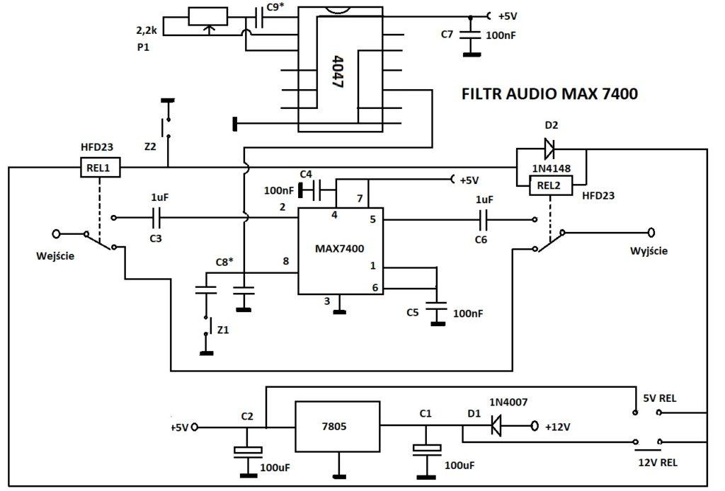 schemat filtru audio na max7400